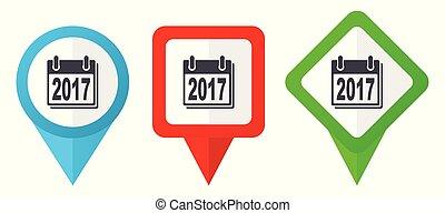 Neujahr 2017 Zeichen rote, blaue und grüne Vektorzeiger Icons. Farbige Positionsmarker, isoliert auf weißem Hintergrund leicht zu bearbeiten