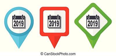 Neujahr 2019 Zeichen rote, blaue und grüne Vektorzeiger Icons. Farbige Positionsmarker, isoliert auf weißem Hintergrund leicht zu bearbeiten