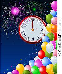 Neujahr-Nacht-Uhr-Hintergrund