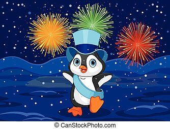 Neujahr Pinguin.