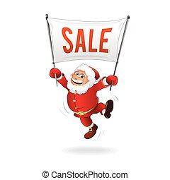 Neujahrsverkauf. Happy santa mit Zeichen