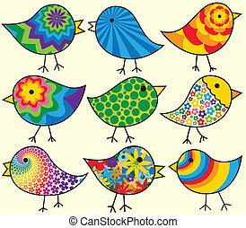 Neun farbenfrohe Vögel