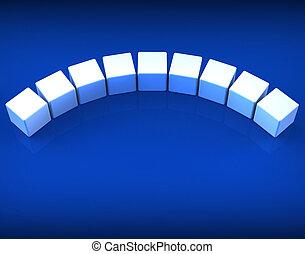Neun leere Würfel zeigen Kopien für neun Buchstaben