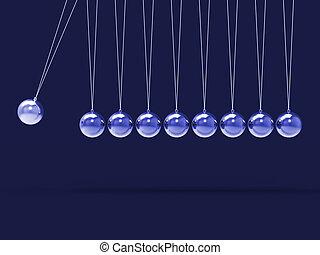 Neun silberne Newtons wiegen mit leeren Sphären für neun Buchstaben