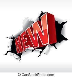 """""""NEW"""" Inschrift durchbrach den weißen Hintergrund. Vektor Illustration."""