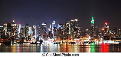 New York City CITY NIGHT SKYLINE PANORAMA