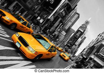 New York City Taxi, verschwommene Fokusbewegung, mal Spießer