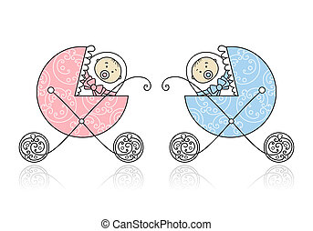 Newborn in baby's buggy for your design.