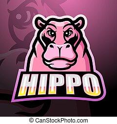 nilpferd, logo, maskottchen, esport, design