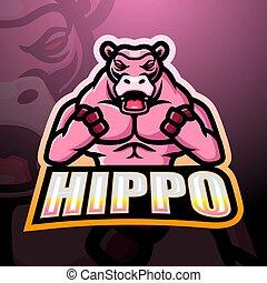 nilpferd, logo, maskottchen, starke , esport, design