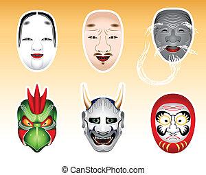 |, noh, satz, kyogen, japan, 2, masken