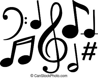 notizen, vektor, symbole, musik, schwarz