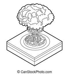 nukleare explosion, ikone, stil, grobdarstellung