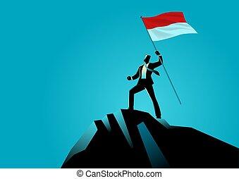 oberseite, berg, indonesien, besitz, geschäftsmann, fahne
