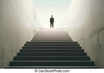 oberseite, treppe, mann
