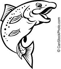oder, forelle, lachs, springende , glücklich, schwarz, weißer fisch, regenbogen, auf, karikatur