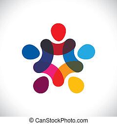 oder, gemeinschaft, bunte, spielende , auch, kreise, besitz, friendship-, arbeiter, solidarität, vektor, &, hände, graphic., buechse, gewerkschaft, einheit, kinder, dieser, abbildung, zusammen, darstellen, begriff, usw
