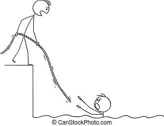 oder, wasser, rope., noch ein, karikatur, ertrinken, ihm, vektor, geschäftsmann, abbildung, geben, ihm, mann, portion