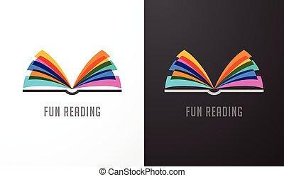 Offenes Buch - farbenfrohes Konzept Ikone der Bildung, Kreativität, Lernen.
