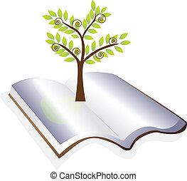 Offenes Buch mit Baumlogovektor
