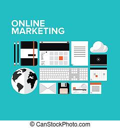 Online Marketing Flat Icons gesetzt