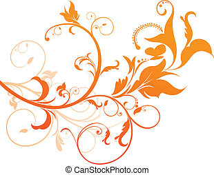 orange, blumen-, abstrakt