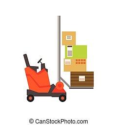 Orange Gabelstapler-Lagerwagen heben die Papierkartonpakete, Lagermaschinen ohne Fahrer