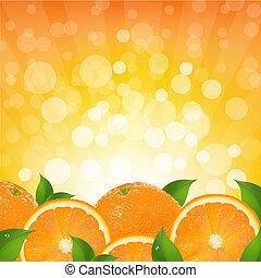 orange, sunburst, hintergrund