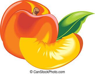 Orange und frischer Pfirsich