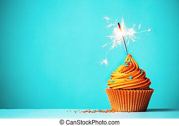 orange, wunderkerze, cupcake