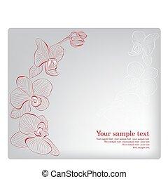 Orchidee. Vector Grußkarte. Muttertag