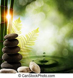 Orientale Umwelthintergründe mit Bambus und Wasserspritzer