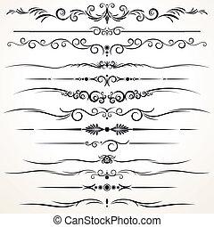 Ornamentale Regellinien in unterschiedlichem Design