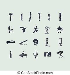 orthopädie, satz, heiligenbilder