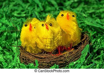 Osterbieten in einem Nest.