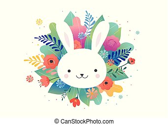 Ostergrußkarte - Blumen und süße Häschen. Vector Design