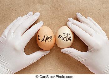 ostern, handschuhe, glücklich, beibehaltung, aus, papier, handwerk, inschrift, hände, eier