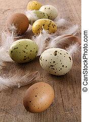 ostern, holztisch, gesprenkelt, eier