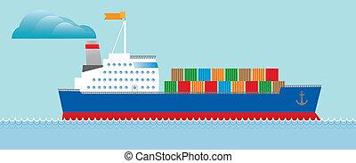 ozeanriese, tanker, behälter