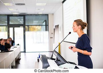 paßte, image), frauenunternehmen, geben, (shallow, junger, farbe, dof;, einstellung, hübsch, darstellung, conference/meeting