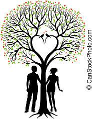 Paar mit Herzbaum, Vektor.