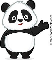 Panda in freundlicher Geste.