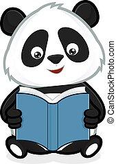 Panda liest ein Buch.