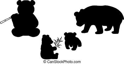 pandas, tiere, family., silhouetten