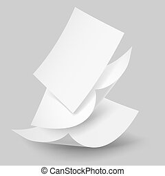 Papierblätter fallen lassen.