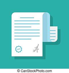 Papierdokument durch Siegel oder Stempel und Unterschrift bestätigt. Illustration eines Dokuments im flachen Stil mit Schatten isoliert auf farbigem Hintergrund.