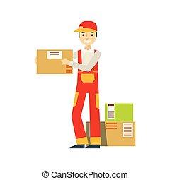 Papierkartonpakete, die sich im Lager mit einem Lieferunternehmen zusammenstapeln, die Bestellungen versenden