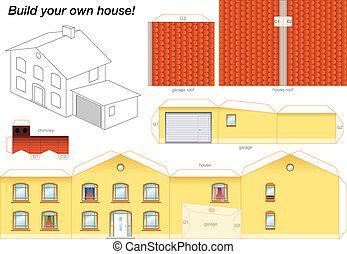 Papiermodell Haus gelb.