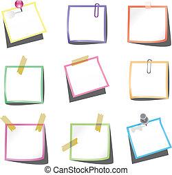 Papiernotizen mit Nadel und Büroklammer