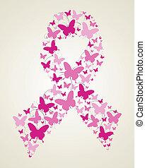 papillon, bewusstsein, geschenkband, krebs, brust